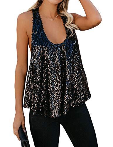 ZJP Women Sexy U Neck Sleeveless Open Back Sparkle Sequin Embellished Tank Tops
