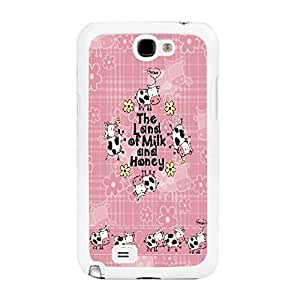 Personalized Monogram Hard Plastic Back Phone Case Cover for Samsung Galaxy Note 2 N7100 with Quotes Animal Shape Pattern Print Case Skin (BY260: floral cows pink) WANGJING JINDA