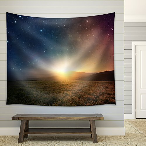 Beautiful Sunrise with Stars and Galaxy in Night Sky Fabric Wall Tapestry