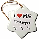 3dRose orn_183651_1 I Love My Yorkiepoo Snowflake Ornament, Porcelain, 3-Inch
