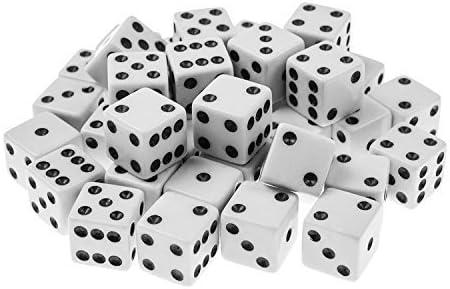 jmart estándar 16 mm dados con negro puntos lunares para juegos de mesa, actividad, Casino tema, recuerdo de la fiesta, regalo de juguete (100/Pack), Blanco: Amazon.es: Deportes y aire libre