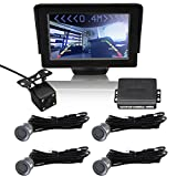 CAR ROVER 4 Sensors Car Parking Security System with 4.3 Inch Visible LCD Monitor + Night Vision Camera Kit Gray...