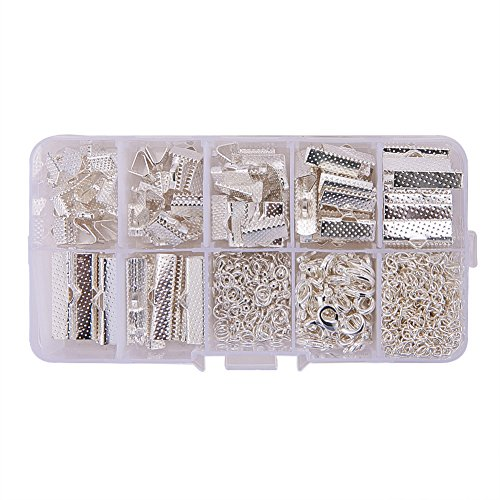 PH PandaHall About 500Pcs Jewelry Finding Sets with Mixed Sizes Ribbon End Drop Ends Jump Ring Chains Class Learning Lots Silver