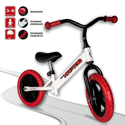 HAPTOO Balance Bike, Kid Glide Bike 12 inch [Ages 1.5 to 6 Years] No Pedal [Adjustable Handlebars and Seat] Lightweight Steel Tube Frame Walking Training Bicycle for Girls Boys Toddler (Red 2)