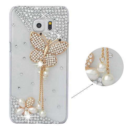 Spritech(TM Crystal Butterfly Elegant Flower Decor Case Bling Rhinestone Design Clear Hard Cover Case for Samsung Galaxy Note 5