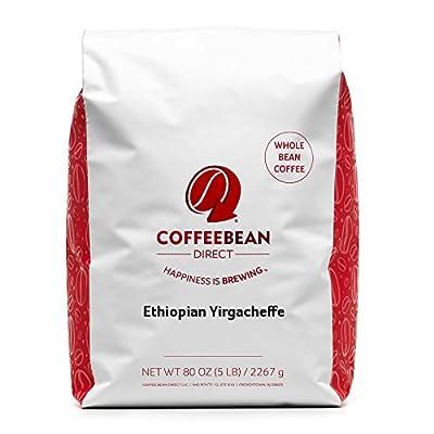 Coffee Bean Direct Ethiopian Yirgacheffe Coffee, Light Roast, Whole Bean, 5 Pound