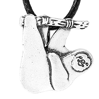 Paw Paw House Cute Hanging Sloth Necklace Animal Friendship Pendant For Women Girls Antique Silver Plated 1254 - Jewelry