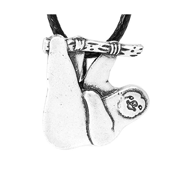 Paw Paw House Cute Hanging Sloth Necklace Animal Friendship Pendant For Women Girls Antique Silver Plated 1254 -