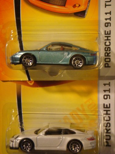 Matchbox Porsche 911 Turbo Blue #25 & The White 911 GT3 #3 Issue 1