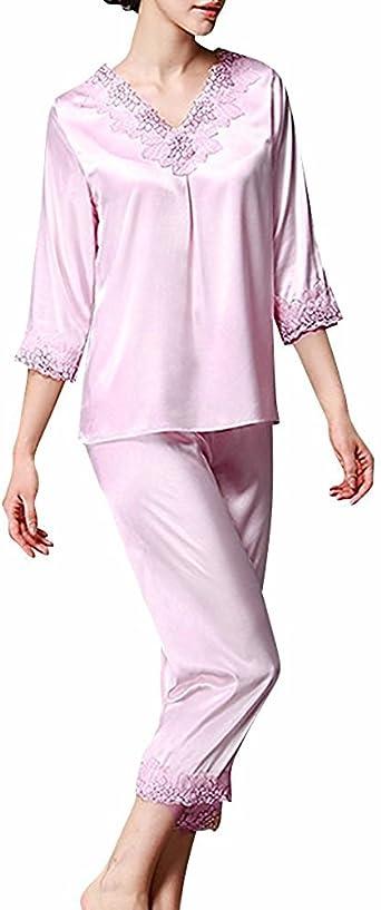 TieNew Pijamas para Mujer, Mujer Satin Camisones Pijamas Raso, Bordado de Flores de Encaje Satén Suave y cálido Manga Larga y Pantalones Largos