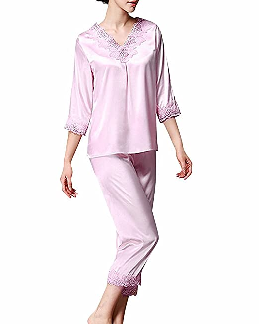 Pijamas para mujer, TieNew Mujer Satin camisones Pijamas Raso, Bordado de flores de encaje