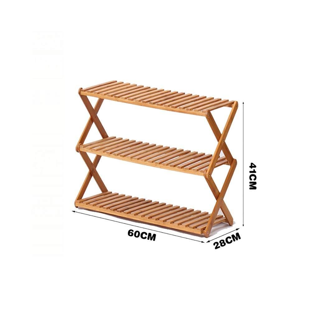 植物収納ラック 3層ソリッドウッドフラワースタンド、シンプルな折りたたみ式多層靴ラック、収納ラック (Size : L60cm) B07TFSC3KV  L60cm