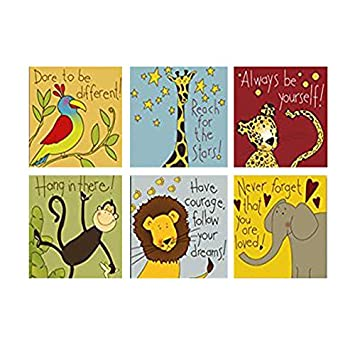 Ttart Canvas Painting 6 Pieces Modern Cartoon Animal Quotes Wall Pictures For Kids Bedroom Baby Room Wall Decor Prints Art No Frame 8x8inchx6pcs No