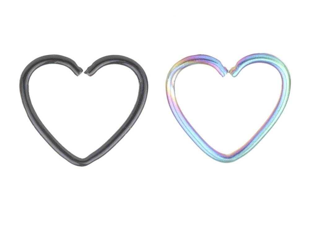 A+ 2 Pcs Mix Surgical Steel Heart Shaped Lip Ear Nose Hoop Ring Earrings Clip Non Piercing Jewelry &4
