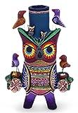 NOVICA Animal Themed Ceramic Candle Holder, Multicolor, 'Owl Fiesta'