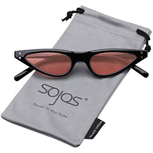 SojoS Retro Cateye Designer Sunglasses for Women Vintage Small Shades SJ2046 with Black Frame/Pink - Vintage Designer Sunglasses