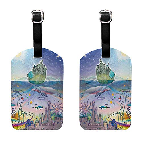 Luggage ID Tags - 2-pack Navy,Ancient Underwater with Octopus and Castle Pirate Ship Coral Reefs Fantasy Art Print,Multicolor Leather Strap - Set of 2