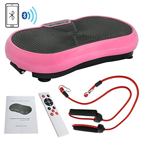 Fitness Vibration Platform Full Body Workout Machine Fit Vibration Plate W/Remote Control and Resistance Bands, Bluetooth Exercise Equipment (Pink) by Nova Microdermabrasion (Image #10)