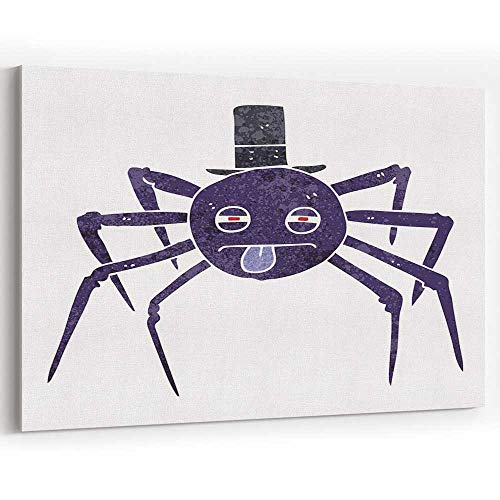 Retro Cartoon Halloween Spider in top hat Canvas Art Wall Dcor Painting Wall Art Print on Canvas -