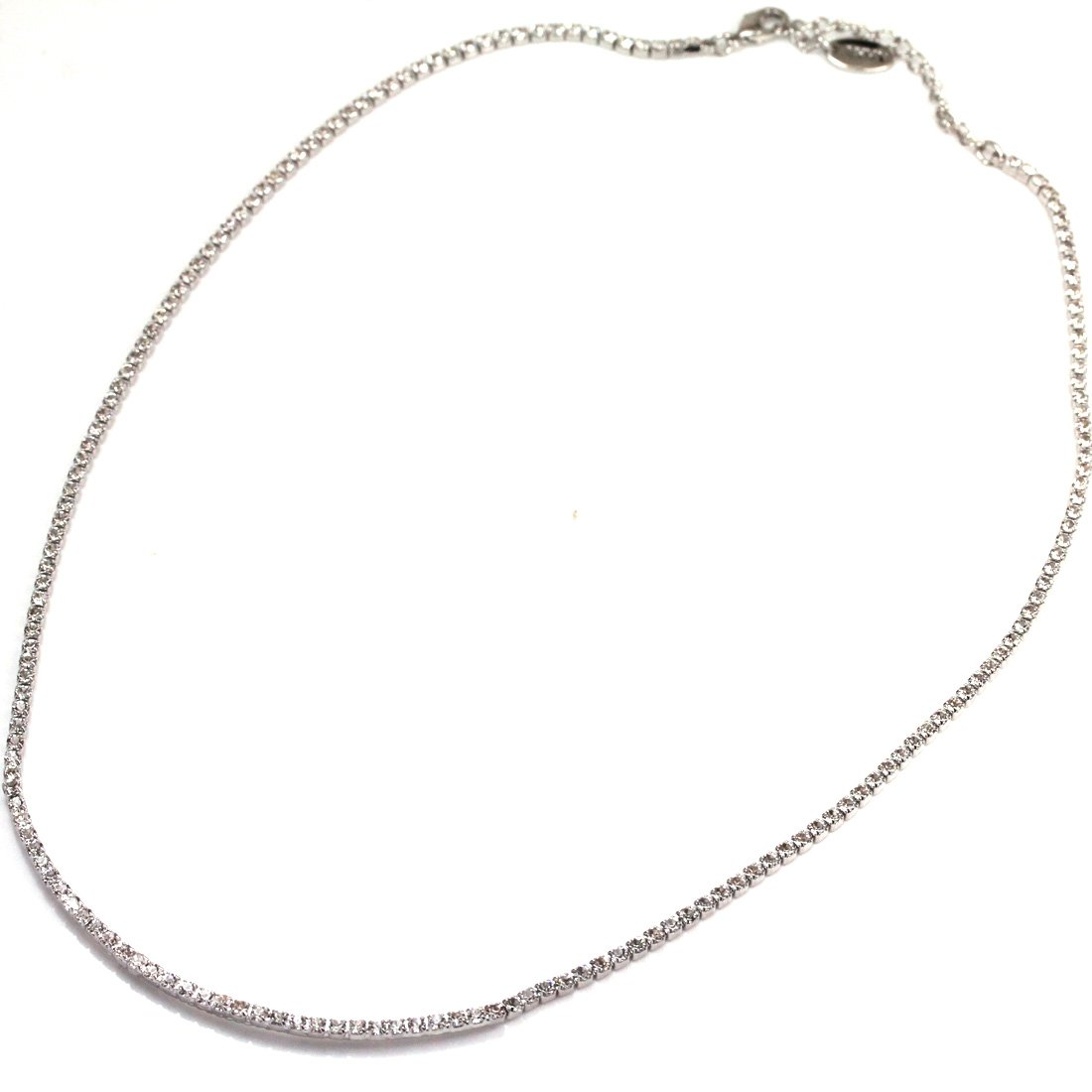 FC JORY White Gold Plated Crystal Slim CZ Tennis Chain Bridal Wedding Necklace