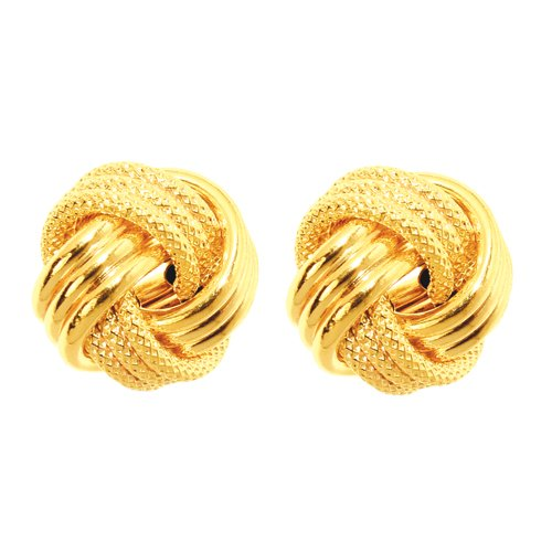 14k 12mm Yellow Gold Large Love Knot Earring - JewelryWeb ()