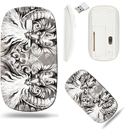 Liili Wireless Mouse White Base Travel 2.4G Wireless Mice with USB Receiver, Click with 1000 DPI for notebook, pc, laptop, computer, mac book Two Dragons tattoo illustration over grey wall Photo 17927
