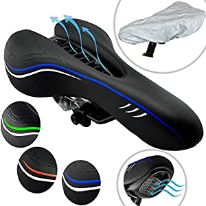 Lumintrail Vented Sport Bike Saddle Mountain Bike Seat Professional Road MTB Gel Comfort Bicycle Seat Cycling Seat Cushion Pad w/ Bicycle Saddle Weather Guard Cover (Blue)