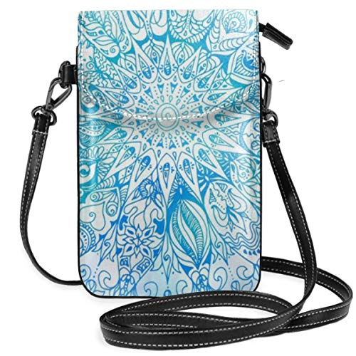 Small Cell Phone Purse For Women Leather Blue Mandala Insides Card Slots Crossbody Bags Wallet Shoulder Bag]()