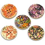 Fabulous Large Wood Buttons with Colorful Designs-25 Buttons Per Package with Exclusive Shizaru Designs® Gift Bag