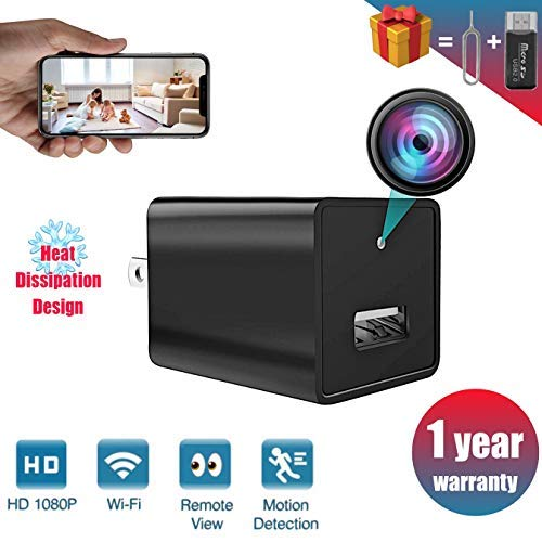 Janesvissy New 2020 Spy Camera with Spy WiFi Hidden Camera, Spy Camera charger 1080P HD Nanny Cam, Wireless Hidden Camera Charger Recorder with Night vision Support iOS/Android