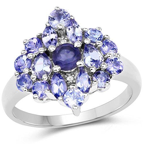 Bonyak Jewelry Genuine Round Iolite and Tanzanite Ring in Sterling Silver - Size 7.00 (Iolite Ring Tanzanite)