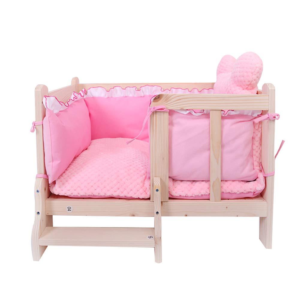 QIQIDEDIAN 犬のベッドソリッドウッドの犬のベッドペットベッドテディー大型と中型のサイズの犬の子犬ベッドネストケンネル犬家具用品 (色 : グレイ ぐれい, サイズ さいず : XL:100*70*45cm) B07KHXM7RZ ピンク L:80*60*45cm L:80*60*45cm|ピンク