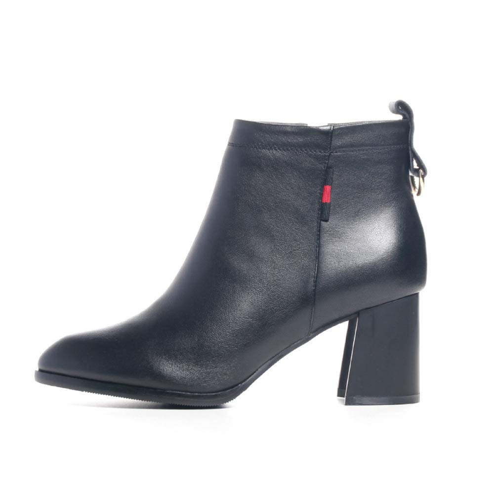 ZYQME Damen Stiefeletten Mid Heel Blockabsatz Damen Damen Damen Sexy Leder PU Stiefelschwarz 9c4b3b
