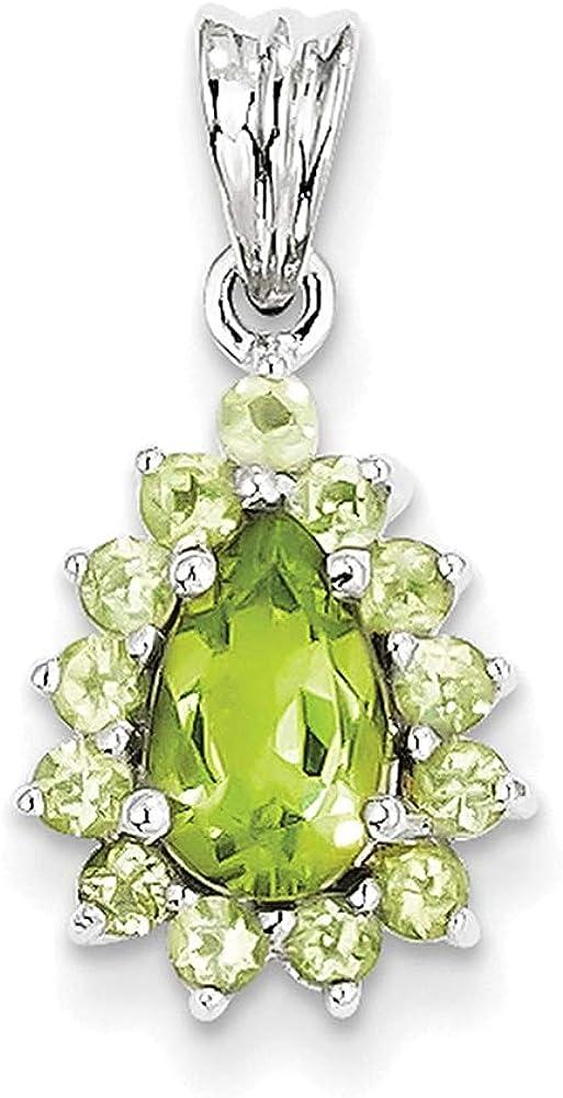 Lex /& Lu Sterling Silver w//Rhodium Peridot Pear-shaped Pendant-Prime