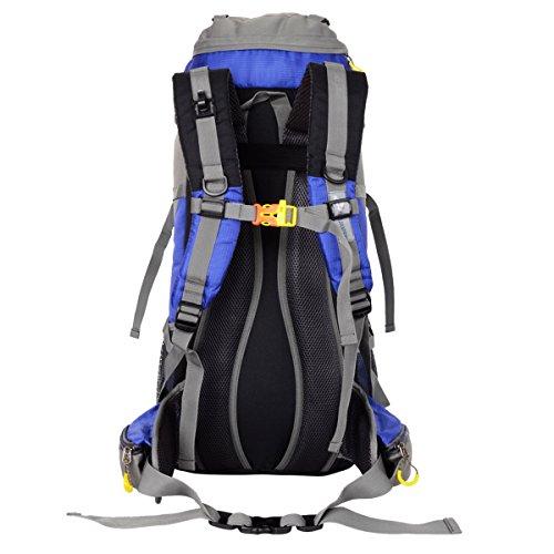 HWJIANFENG Mochilas 45+5L de Senderismo al Aire Libre de Nylon con Cubierta de la lluvia Impermeable Mochilas Montaña Mochila de Viaje Para Hombre y Mujer Azul