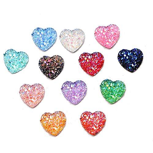 JETEHO 100 pcs Heart Flat Back Resin Cabochons Druzy Flat Back Cabochons Cameo Beads Craft Jewelry Making DIY