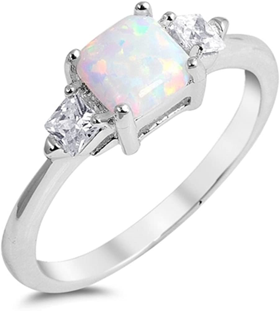 CloseoutWarehouse Princess Cut Simulated Opal Cubic Zirconia Ring Sterling Silver