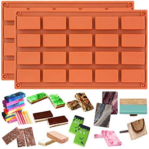 Candy Bar 2 - Funshowcase 20 Cavities Rectangular Cake Pan Soap Candy Chocolate Bar Silicone Molds 2 in Set