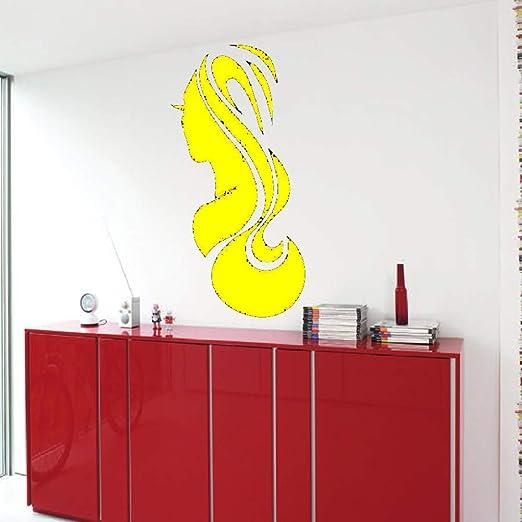 Zaosan Chica salón de Belleza Etiqueta de la Pared Corte de Pelo Desmontable Barber Shop Etiqueta de la Pared Maquillaje de Vinilo Mujer salón de Belleza Art Deco Negro 87x42cm: Amazon.es: Hogar