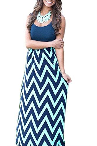 Yacun Women's Stripes Sleeveless A-line Maxi Dress Navy (Yacun Women Maxi Dress)
