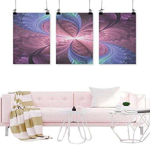 J Chief Sky Trippy,3 Piece Artwork Painting Purple and Blue Flower Vortex Abstract Flourish Design Ornament Canvas Wall Art Painting W24 x L48 x3pcs