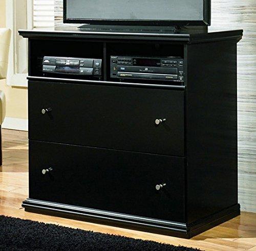 Ashley Furniture Signature Design - Maribel Media Chest - Entertainment Console - TV Stand - 2 Drawer - Black (Chest Tv Stand)