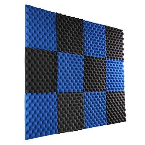 Tackable Acoustic Panels 12 Pack Ice Blue/Charcoal Acoustic Panels Studio Foam Egg Crate 12 Pack Covers 12 Square Feet Each Tile is 1 Square Foot of 1 Inch Thick Convoluted Acoustic Panel 1x12x12