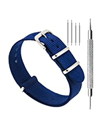 CIVO Watch Bands NATO Premium Ballistic Nylon Watch Strap Stainless Steel Buckle 18mm 20mm 22mm with Top Spring Bar Tool and 4 Spring Bars Bonus (Navy Blue, 22mm)