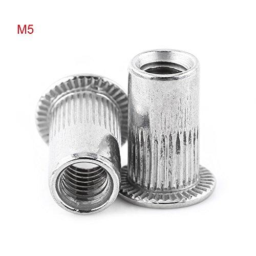 M3-M8 Rivet Nut Flat Head Threaded Blind Insert Rivnut Nutsert Screw Stainless Steel (M5) Pop Nut Threaded Inserts