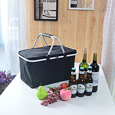 GGK Picnic Basket- Insulated Picnic Basket - BBQ Meat Drinks Cooler Bag - Waterproof Collapsible Cooler Basket for Family Vacations Parties Outdoor Travel, Keep Food Cold Storage from DXM