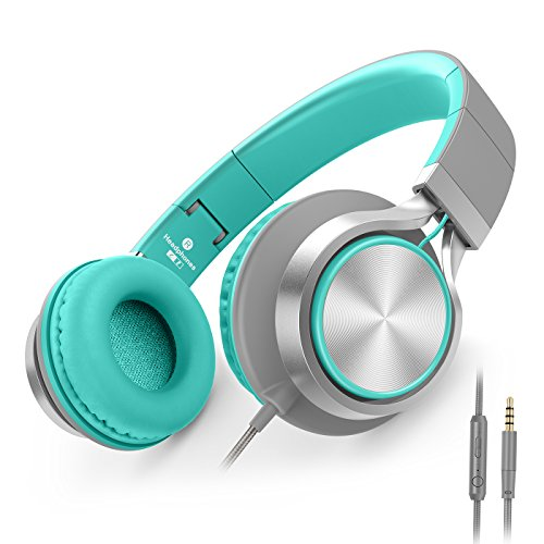 AILIHEN C8 Headphones with Microphone and Volume Control Folding Lightweight Headset for iPad iPhone iPod Tablets Smartphones Laptop Computer PC Mp3/4 (Grey/Mint)