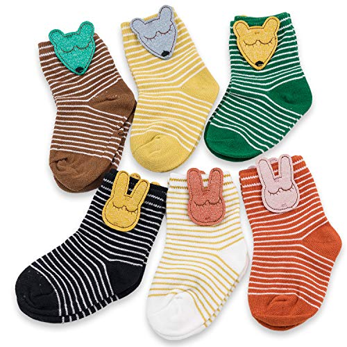- CoCoCute Baby Socks Toddler Socks Infant Socks Cartoon Pattern Girls Boys Cotton Socks (M(3-5Y), Stripe)