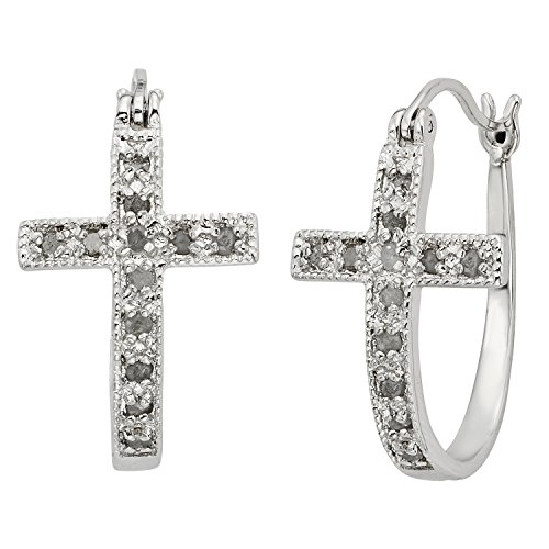 JewelExclusive Sterling Silver 1/4cttw Natural Round-Cut Diamond (J-K Color, I2-I3 Clarity) Cross Click Top Hoop Earring