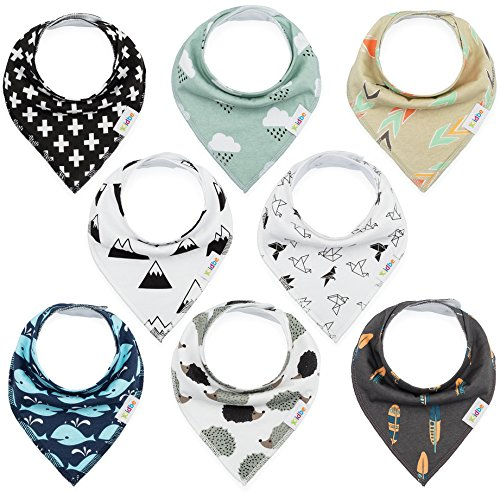 Baby Bandana Drool Bibs for Teething Newborns and Toddlers (8 Pack), Unisex Drool Scarf for Girls & Boys, Organic Cotton and Waterproof Polyester Back, Ultra Absorbent and Hypoallergenic by Kiidbe (Bib Toddler Newborn)